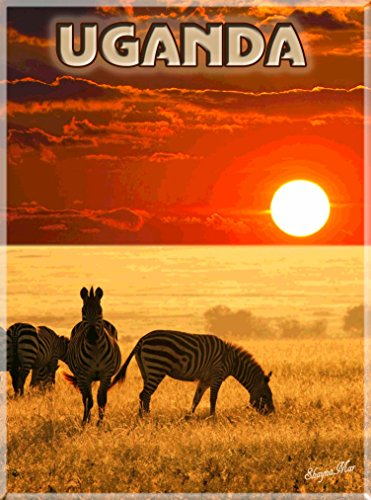 A SLICE IN TIME Uganda Zebra Safari Savannah Africa African Vintage Travel Advertisement Art Poster