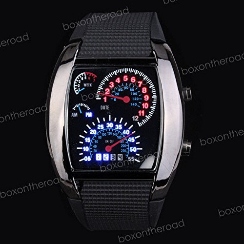 SUPER BARGAIN!!! NEW Model!! RPM Turbo Silicone Rubber Men Car Meter Dial Blue Binary DOT LED Sports Watch in Jewelry