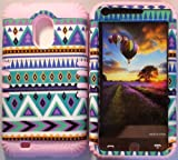 Cellphone Trendz (TM) Hybrid High Impact Bumper Case Blue Green Aztec Tribal / Light Pink Silicone for Samsung Galaxy S2 EPIC 4G TOUCH D710 R760 for SPRINT/BOOST MOBILE/VIRGIN MOBILE/US CELLULAR