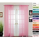 "NIM Textile Elegant Sheer Voile Curtains Panels, Rod Pocket Top, 110""W x 84""L, 2 Panels Set, Pink, Love Inn Collection"