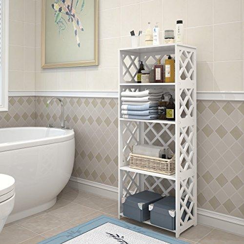 Rackaphile 4-Tier Bookcase Storage Shelf, Wood Plastic Waterproof Bookshelf Storage Organizer Shelving Unit Display Rack Book Shelf for Living Room Bathroom Office White by Rackaphile (Image #4)