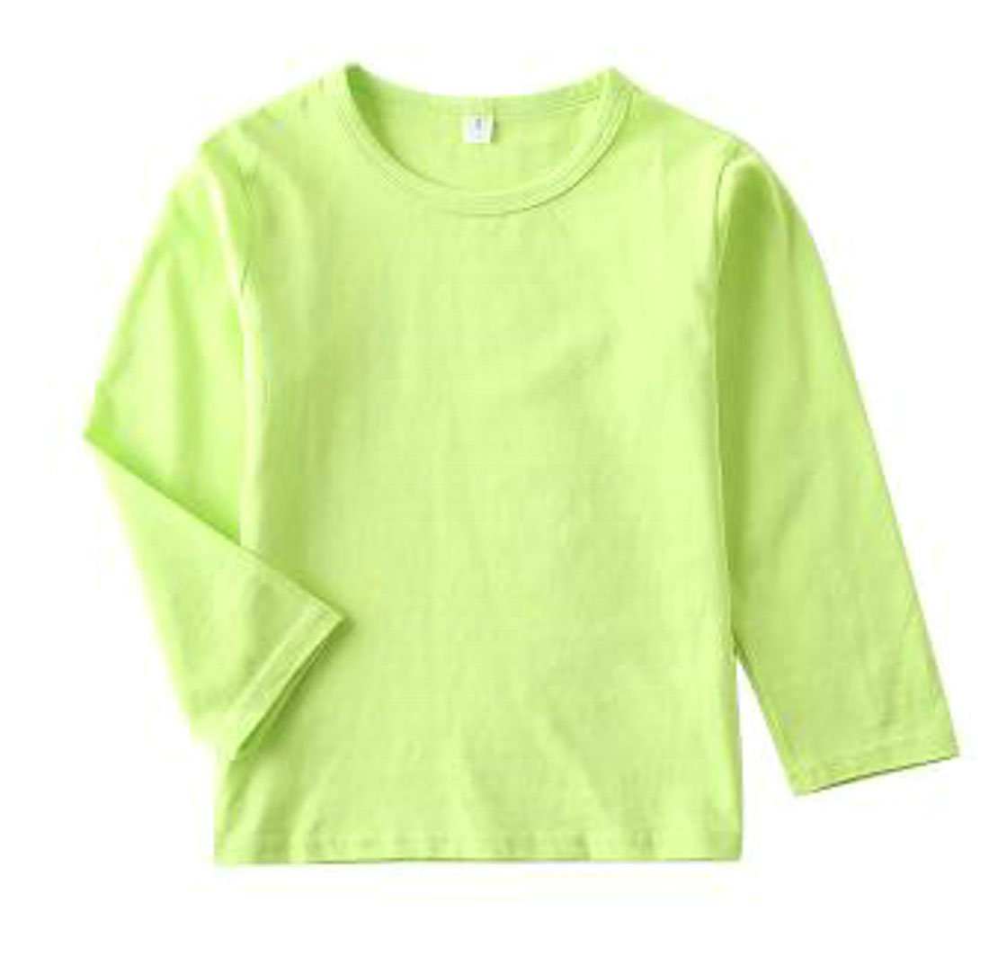 Pandapang Girls Casual Long Sleeve Crewneck Soft Solid Color Cotton T-Shirts Top