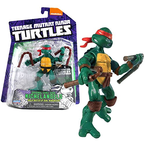 Teenage Mutant Ninja Turtles Playmates Year 2014 TMNT Original Comic Book Series 4-1/2 Inch Tall Action Figure - Ninja Master of Dual Nunchucks Michelangelo with Pair of Nunchuck and Trading Card -