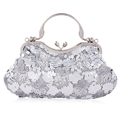 Damara Women Sequins Mesh Overlay Kiss Lock Evening (Mesh Metallic Evening Bag)