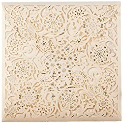 50X WISHMADE Square Ivory Laser Cut Floral Invitation Wedding Invites wtih Envelope RSVP and Thank you card for Engagement Bridal Shower Quinceanera Birthday Party CW6110