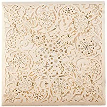 50X WISHMADE Square Ivory Laser Cut Floral Invitation Wedding Invites wtih Envelope RSVP and Thank you card for Engagement Bridal Shower Quinceanera Birthday Party