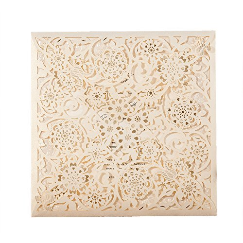 50X Wishmade Laser Cut Invitations Cards Kit With Matched Thank You Card and RSVP Card For Wedding Party Birthday Occasion