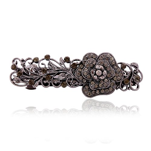 - IPINK Gray Tone Metal French Clip Flower Design Hair Clip Barrette