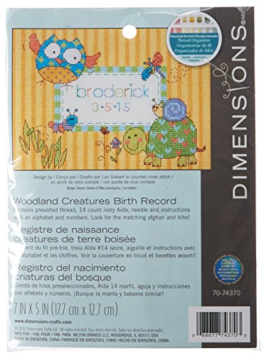 Dimensions Woodland Creatures Birth Record Mini Counted Cross Stitch Kit, 7