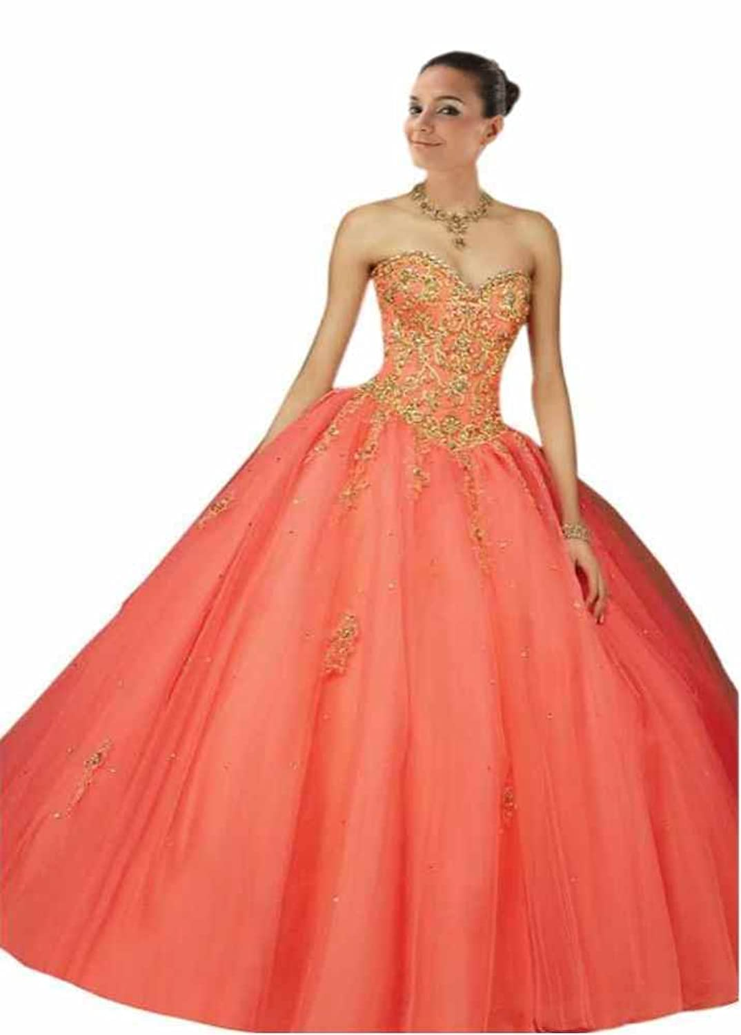 Mollybridal Sequin Embroidery Long Tulle Ball Gown Quinceanera Dress