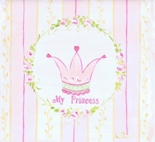 The Kids Room My Princess with Pink and Yellow Stripes Square Wall Plaque, Baby & Kids Zone