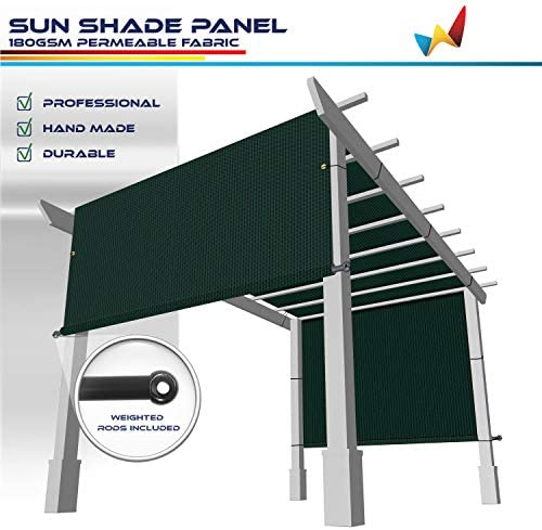 Windscreen4less 15 x29 Outdoor Pergola Replacement Shade Cover Canopy for Patio Privacy Shade Screen Panel with Grommets on 2 Sides Includes Weighted Rods Breathable UV Block Green