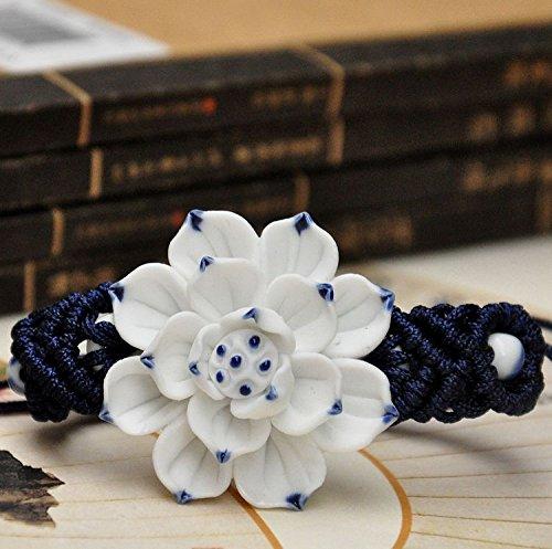 Ceramic Unglazed White (Jingdezhen Ceramic jewelry original hand jewelry bracelet features white ceramic flower lotus unglazed matte)