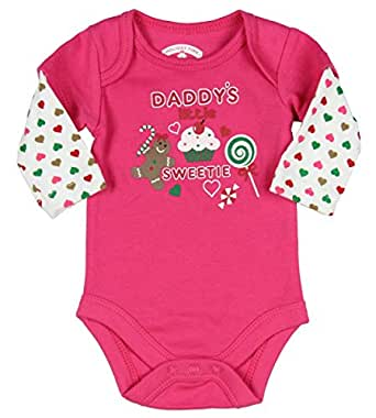 Assorted Santa, Reindeer Baby Boys & Girls Christmas Bodysuit Dress Up Outfit (Newborn, DADDY'S Little SWEETIE)