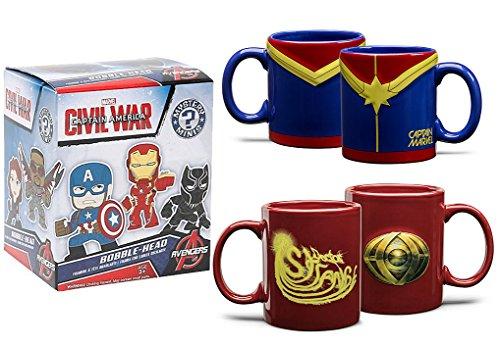 Marvel Mug Pack Comic Book Embossed Mug Set Captain Marvel Blue / Doctor Strange Sorcerer Red Super Hero ceramic Coffee/tea drinkwares & Blind Box Character Figure ()