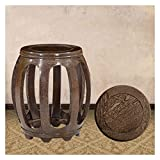 Chinese Drum Coffee Table Ho,ney - stools Wood Wooden Bench- Round Stool Chinese Antique Drum Stool Solid Wood Stool Home Coffee Table Stool Low Stool Bench (Size : Large)