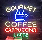 Queen Sense 24''x20'' Gourmet Coffee Cappuccino Latte Neon Sign (VariousSizes) Beer Bar Pub Man Cave Business Glass Lamp Light DC396