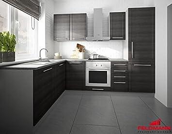 Einbauküchen l form hochglanz  Küchenzeile L-Form 1615312 grau / fino schwarz 140x250cm: Amazon.de ...