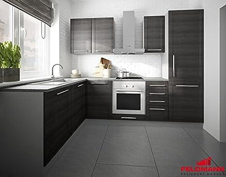Küchenzeile L-Form 1615312 grau / fino schwarz 140x250cm ...