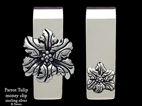 Parrot Tulip Flower Money Clip in Solid Sterling Silver Hand Carved, Cast & Fabricated by Paxton by Paxton Jewelry