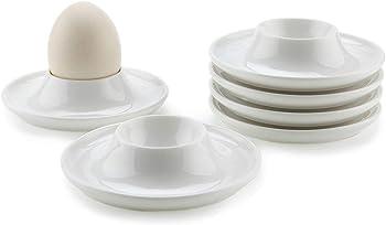 6-Pack Mucihom Porcelain Egg Cups Plates