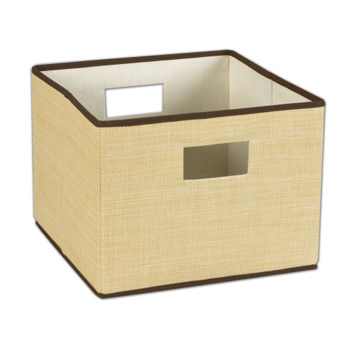 Household Essentials Resin Storage Bin with Handles, Wheat with Brown Trim (File Basket Wicker Folder)