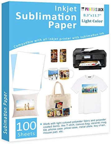 """Sublimation Paper Heat Transfer Paper 100 Sheets 8.3"""" x 11.7"""" for Any Epson HP Canon Sawgrass Inkjet Printer with Sublimation Ink for T blouse Mugs DIY"""