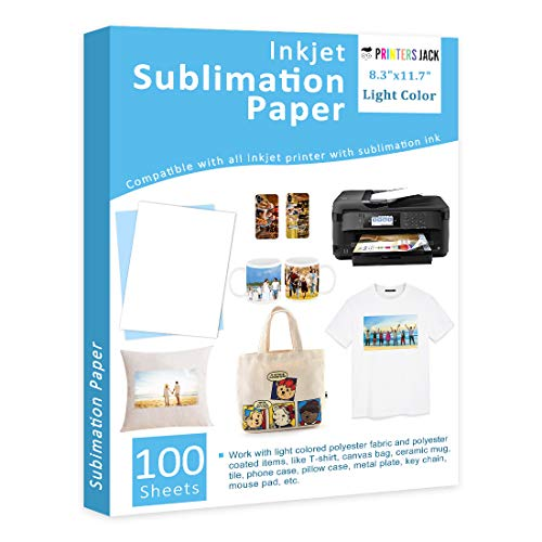 "Sublimation Paper Heat Transfer Paper 100 Sheets 8.3"" x 11.7"" for Any Epson HP Canon Sawgrass Inkjet Printer with Sublimation Ink DIY Christmas Gift"