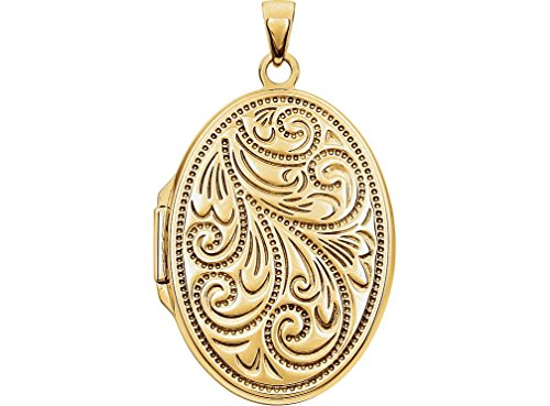 Yellow Gold Plated Sterling Silver Embossed Oval Locket by The Men's Jewelry Store (for HER)