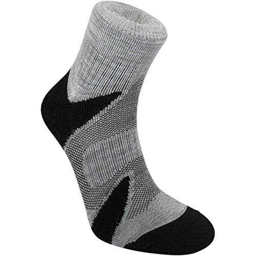 Bridgedale Men's Lightweight Ankle Height - Merino Cool Comfort Socks, Silver/Black, Large