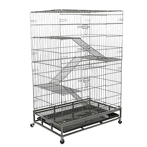 Livebest Folding 4-Tier Pet Cage Indoor Cat Rabbit Small Animal Cage Hutch 3 Ramp Ladders 4 ()