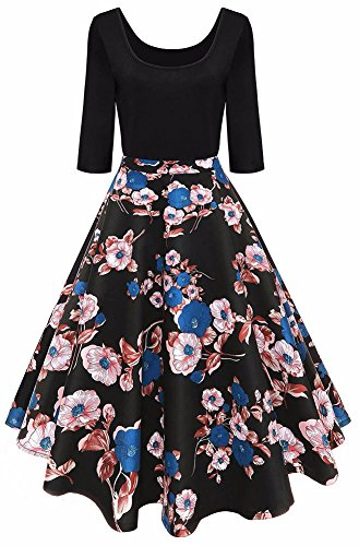 Vintage Floral Party Casual Elegant Aliling Blue A Dresses Black Line Printed Women's Swing gAxEqEwp
