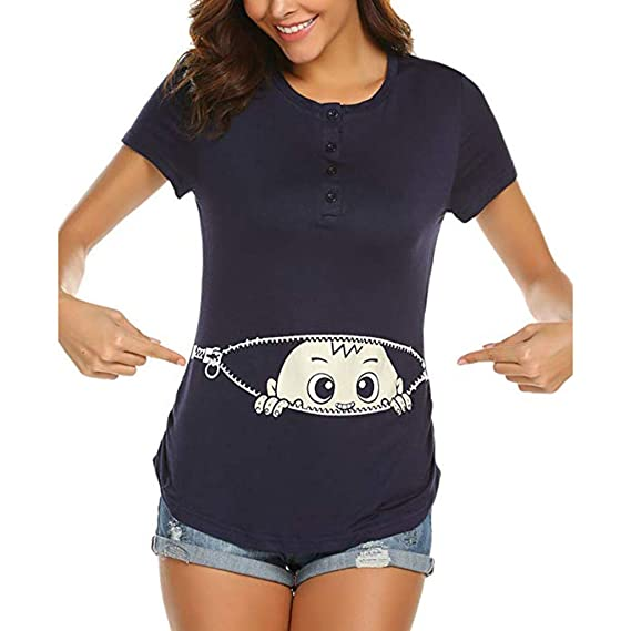 Lenfesh Umstandsshirt Damen Stillshirt Umstandsmode Schwanger T-Shirt Maternity Shirt Langarm Gestreift Umstandsshirt Nursing Tops Schwangerschafts Stilltop Mit Stillfunktion