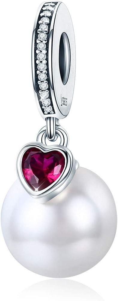 Abalorio de perlas compatible con pulsera Pandora y collar de plata de ley 925 con diseño de corazón de perlas y circonitas cúbicas Estilo 4.
