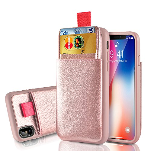 LAMEEKU Wallet Case for Apple iPhone Xs and iPhone X, Protective Leather Cases with Credit Card Holder Slot Pocket, Shockproof TPU Bumper Phone Cover Compatible with iPhone Xs/X - Rose Gold