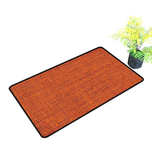 Zmstroy Waterproof Door mat Burnt Orange Rough Texture Close up Thick Fabric Image Print Country Living Rustic Style W20 xL31 Easy to Clean Burnt