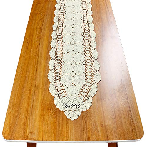 (yazi Handmade Crochet Lace Rectangular Table Runner (15.7x79, Beige))