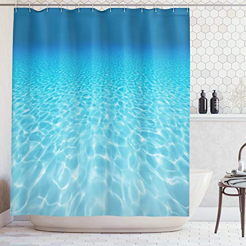 Ambesonne Ocean Decor Collection, Tranquil Underwater Scene Clean Sandy Bottom Surface with Sunlight Coming From Up Picture Print, Polyester Fabric Bathroom Shower Curtain, 75 Inches Long, Navy Aqua