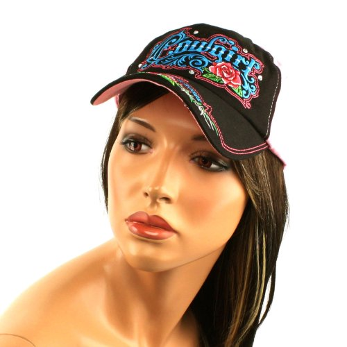 Cowgirl Barbwire & Roses Crystals Adjustable Ball Cap Hat 57cm+ Black Pink
