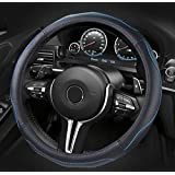 Dee-Typer Leather Car Steering Wheel Cover Universal 15 inch Black & Blue
