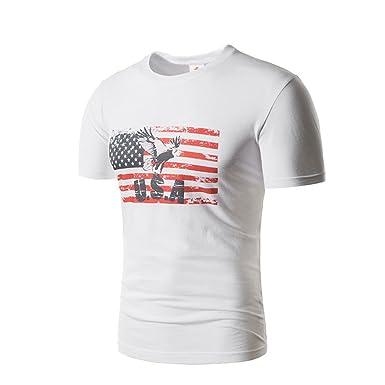 BaronHong American Flag Eagle Print Camiseta de Cuello Redondo ...