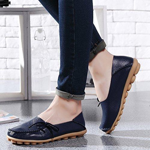 Lucksender Frauen Rindsleder Lace-Up Driving Schuhe Loafers Bootsschuhe Dunkelblau