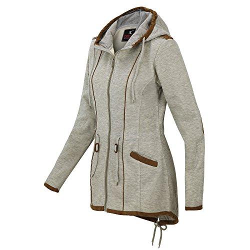 De la Mujer Primavera Otoño Invierno Chaqueta de forro polar con capucha chaqueta manga larga 1510B gris claro