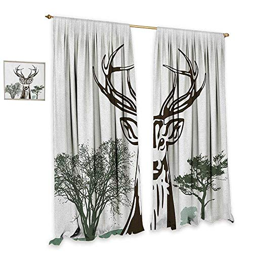 Antlers Thermal Insulating Blackout Curtain Deer Moose Trees Silhouettes Outline of Village Mountain Fall Forest Blackout Draperies for Bedroom W108 x L96 Chocolate Green White ()