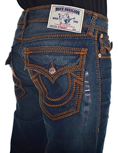 474938d62 True Religion Men s Rope Stitch Flap Pocket Straight Jean in Devils Post  outlet