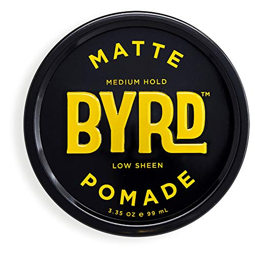 (BYRD Matte Pomade - Medium Hold, No Sheen, For All Hair Types, Mineral Oil Free, Paraben Free, Phthalate Free, Sulfate Free, Cruelty Free, Water Based, 3.35 Oz)