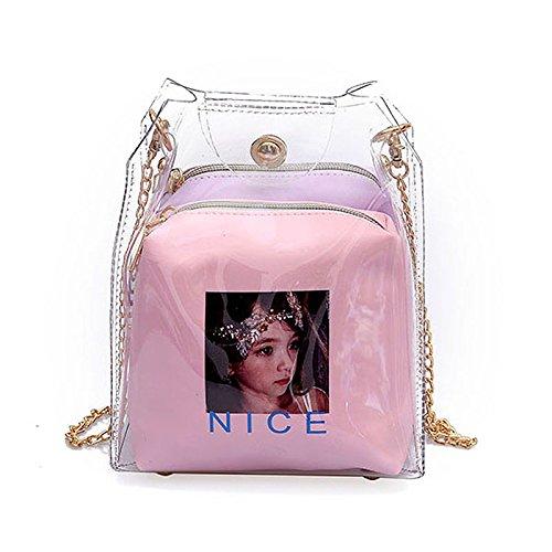 Bolso Bolsa Mapa Rosado Pulverizacion Jalea Cubo De Mujer Mini Transparent Plastico Compuesta Pequena Cadena Toogoo gXqB86dq