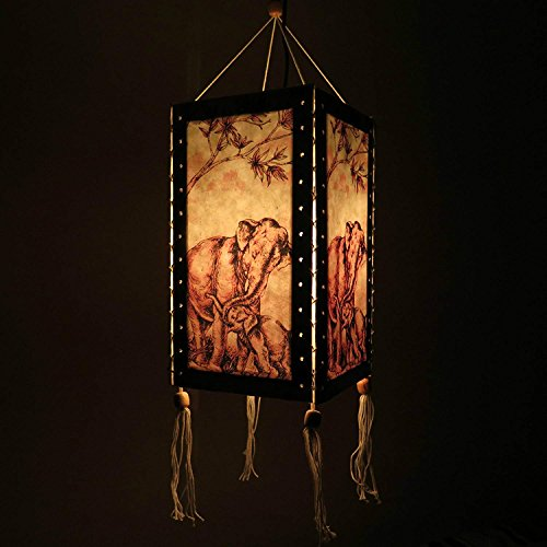 12'' Hanging Paper Lampshade Lantern made of Saa Paper, Light Lamp Shades for Wedding, Birthday Party, Home Decor (Elephants) by Thai Natural Goods