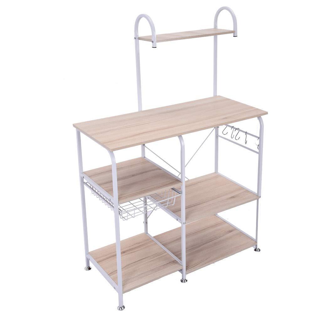 TADAMI Kitchen Storage Rack,Utility Shelf Multifunctional Kitchen Rack Microwave Oven Floor Stand Cupboard Spice Rack (White)