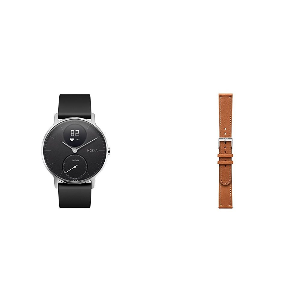 Nokia Steel HR Heart Rate & Activity Tracking Watch 36mm Black Bundle with An Extra Leather Brown Wristband